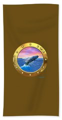 Porthole View Of Breaching Whale Bath Towel