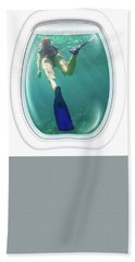 Porthole Windows On Coral Reef Hand Towel