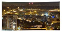 Portland Fremont Bridge Light Trails At Night Hand Towel