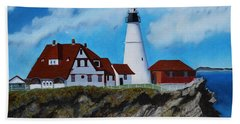 Portland Head Light In Maine Viewed From The South Hand Towel