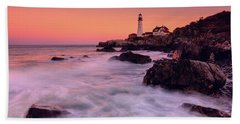 Bath Towel featuring the photograph Portland Head Light In Pink  by Emmanuel Panagiotakis