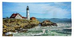 Portland Head Light - Oldest Lighthouse In Maine Bath Towel