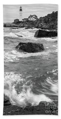 Hand Towel featuring the photograph Portland Head Light Under Heavy Skies  -88356 by John Bald