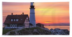 Portland Head Lighthouse Sunrise Hand Towel