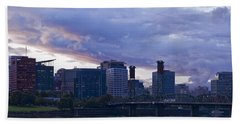 Portland Oregon Panorama Hand Towel by Jonathan Davison