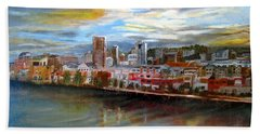 Portland Waterfront From Broadway Bridge Hand Towel