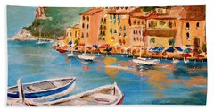 Hand Towel featuring the painting Portofino II by Alan Lakin