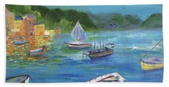 Hand Towel featuring the painting Portofino, Italy by Jamie Frier