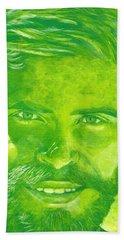 Portrait In Green Hand Towel