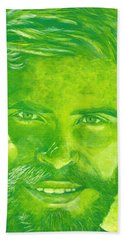 Portrait In Green Hand Towel