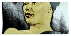 Tinted Portrait Drawing Of A Bronx Beauty Bath Towel
