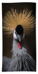 Hand Towel featuring the digital art Portrait Of A Crowned Crane 2 by Ernie Echols