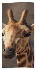 Hand Towel featuring the digital art Portrait Of A Giraffe  by Daniel Eskridge