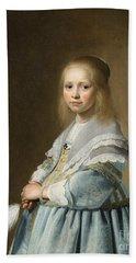 Portrait Of A Girl Dressed In Blue By J. Cornelisz Hand Towel