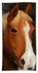Portrait Of A Horse Hand Towel by Jasna Dragun