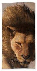 Bath Towel featuring the digital art Portrait Of A Lion by Daniel Eskridge