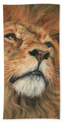 Bath Towel featuring the painting Portrait Of A Lion by David Stribbling