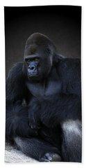 Portrait Of A Male Gorilla Bath Towel