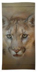 Portrait Of A Mountain Lion Hand Towel