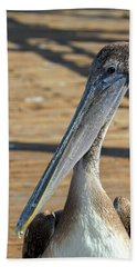 Portrait Of A Pelican On The Pier Bath Towel