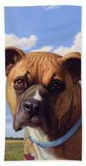 Hand Towel featuring the painting Portrait Of A Sweet Boxer by James W Johnson
