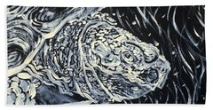 Bath Towel featuring the painting Portrait Of A Turtle by Fabrizio Cassetta