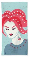 Portrait Of A Weird Girl With Pink Hair Bath Towel