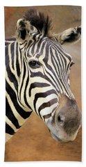 Bath Towel featuring the photograph Portrait Of A Zebra by Rosalie Scanlon