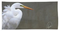 Portrait Of An Egret Bath Towel