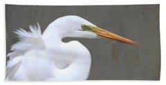 Portrait Of An Egret Signed Hand Towel