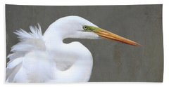 Portrait Of An Egret Signed Bath Towel