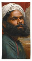 Bath Towel featuring the painting Portrait Of An Indian Sardar by Edwin Frederick Holt