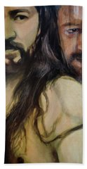 Hand Towel featuring the painting Portrait Of Cristo Soto by Ron Richard Baviello