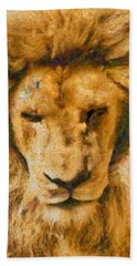 Hand Towel featuring the photograph Portrait Of Lion by Scott Carruthers