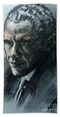 Charcoal Portrait Of President Obama Bath Towel