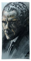 Charcoal Portrait Of President Obama Hand Towel