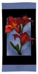 Portrait Of Red Lily Flowers Hand Towel