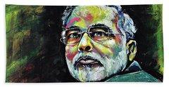 Portrait Of Shri Narendra Modi Bath Towel