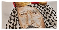 Portrait Of The Pro Wrestler Known As The Iron Sheik Hand Towel