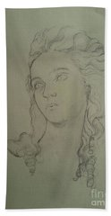 Hand Towel featuring the drawing  Portrait Of Elisabeth Vigee Le Brun by Maja Sokolowska