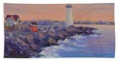 Portsmouth Lighthouse Sunset Peaceful  Coastal Painting Bath Towel