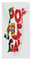 Portugal Typographic Map Flag Hand Towel
