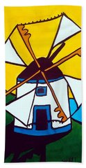 Hand Towel featuring the painting Portuguese Singing Windmill By Dora Hathazi Mendes by Dora Hathazi Mendes