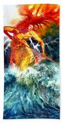Hand Towel featuring the painting Poseidon by Henryk Gorecki