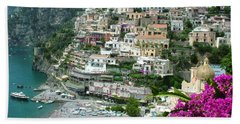 Positano's Beach Hand Towel by Donna Corless
