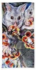 Hand Towel featuring the painting Possum Family by Ryn Shell