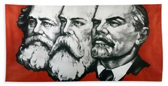 Poster Depicting Karl Marx Friedrich Engels And Lenin Hand Towel