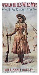 Poster For Buffalo Bill's Wild West Show With Annie Oakley Hand Towel