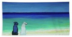 Lab Potcake Dogs On The Beach Bath Towel