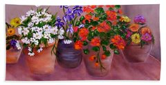 Bath Towel featuring the painting Pots Of Flowers by Jamie Frier